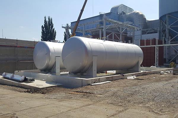 Tanks 100m3 Ø 3400 einwandig aus 1.4307 für Ammoniakwasser